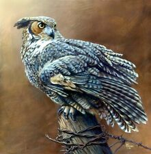 GREAT HORNED OWL WILDLIFE CANVAS ART PRINT