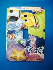 Fish Ocean Light Switch Plate Cover, Metal, Single Pole, Starfish Seahorse Coral