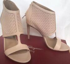 Ferragamo Pacella Sz 6 1/2 M Quarzo Rose Calf Leather Zipper Shoes Open Toe
