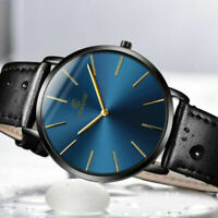 Men Trendy Quartz Ultra Thin Minimalist Watch Slim Leather Strap Stainless Steel