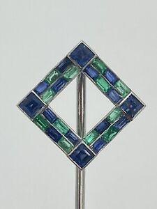 Platinum Sapphire & Emerald Deco Stick Pin