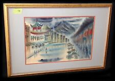 "1940s Hawaii WC Painting ""Chinatown Wo Fat Bldg"" Hon Chew Hee (1906-1993)(Yir)"