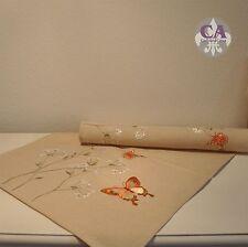 #10695 Tischläufer Tischdecke 40x140 cm Schmetterlinge Gräser Stickerei Landhaus