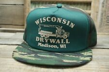 Vintage WISCONSIN DRYWALL Madison, WI Camo SnapBack Trucker Hat Cap Made in USA