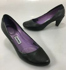 "Tsubo Womens 7 Dufay Black Leather Classic Pumps 3"" Heels Shoes 8127 BLPU"