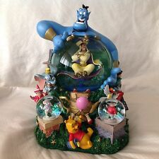 RARE Disney Parade Aladdin SHARE DREAM COME TRUE Musical Motion Snowglobe