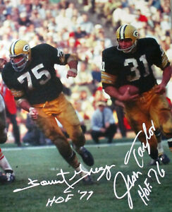 Packers JIM TAYLOR & FORREST GREGG Dual Signed 16x20 Stretched Canvas AUTO