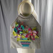 Nanette Lepore 3D Floral Applique Purse Lucite Handle Striped Handbag Spring