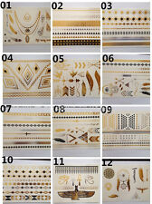12 Sheet Temporary Gold Silver Style Black Flash Tattoos Celebrity Jewelry