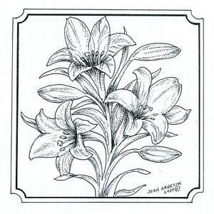Easter Lilies Notched Square NORTHWOODS Wood Mounted Rubber Stamp NEW PP10738