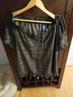 Simply Vera Vera Wang Womens Black/Gray Top Shirt Blouse Size Large