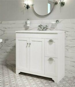 900mm 2 Door Drawers Matt White Traditional Floor Standing Sink Vanity Unit