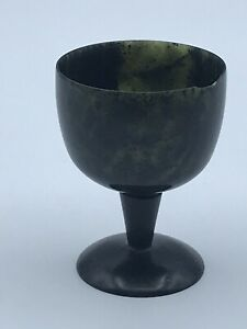 Chinese Spinich Jade Carved Cup / Bowl