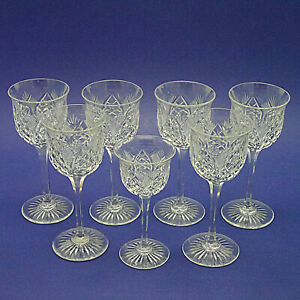 "Seven Royal Brierley Crystal 'RBR16' Pattern Hock/Wine Glasses - 7"" & 5.75"" High"