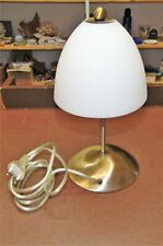 Kleine Tischlampe weißer Glasschirm Bronzefarbener Fuß mit Berührungssensor