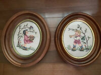 Pair Of Hummel Needlepoint Pictures Antique Oval Frames Crafted In Switzerland