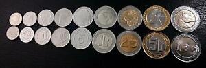 Algeria Set 9 coins 1/4 1/2 1 2 5 10 20 50 100 Dinars,1992 to 2019, BIMETAL, UNC