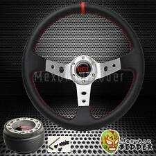 350mm Black/Chrome Deep Dish Steering Wheel +Hub Adapter Mitsubishi Mirage 91-14