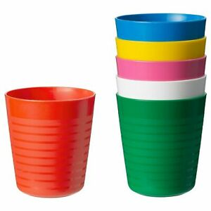ikea Kalas childrens / toddler/baby party plastic multicolour mugs (6 in pack)
