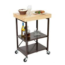 Refurbished Origami Folding Kitchen Cart on Wheels or chef outdoor wine Bronze