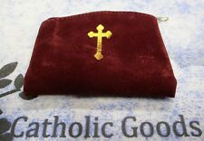 Maroon Suede - Gold Stamp -  Zipper Rosary or Chaplet Pouch with Lining