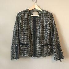 Banana Republic Tweed Blazer Black Full Zip Faux Leather Trim Women's Size 4