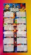NEW - Nintendo Power 2000 Calendar Mario Pikachu Link Original RARE Poster Wii