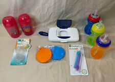Msrp $55+ Baby Supply Lot 5 Sippy Cups, 2 Can Covers, Straws, Bottle Nipples, St