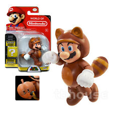 "4"" TANOOKI MARIO figure SUPER BROS 3 brown raccoon WORLD OF NINTENDO series 1-4"