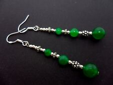A PAIR OF LONG GREEN JADE BEAD EARRINGS WITH 925 SOLID SILVER HOOKS. NEW..