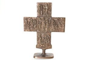 Bronze Kreuz Jesus Relief Bilder altes Stehkreuz Kruzifix ca. 1960/70er Jahre