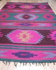 Antique Hand Woven Podolia Area Rug Heavy Flax 1950s 1,4x2m