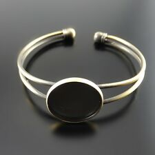 2PCS Retro Bronze Brass Bracelet Jewelry Making 20mm Cameo Base Cuff Bangle