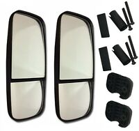 2 X DUAL UNIVERSAL MIRRORS Pair Tractors Truck Wing Split Fixing Dual Zoom HGV