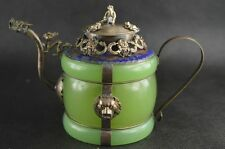 Collectible  Exquisite chinese Handmade Tibetan silver jade inlay Jade teapot