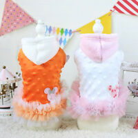 Warm Pet Dog Tutu Dress Clothes Winter Small Cat Poodle Skirt Chihuahua Hoodie