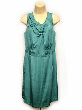 Ann Taylor Loft Shift Dress Women Size 8 Blue Sleeveless Cowl Neck Textured