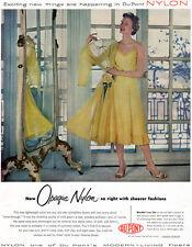 Yellow Nylon Slip DU PONT LINGERIE Sheer See-Through Fashions 1954 Print Ad