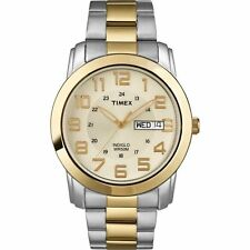Timex T2N439, Men's 2-Tone Bracelet Watch, Champagne Dial, Day/Date, Indiglo