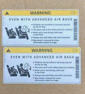 2 x Mercedes-Benz Genuine Sun Visor Air Bag Warning Sticker Label Decal NEW