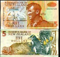 NEW ZEALAND 5 DOLLARS ND 1992 P 177 DV PREFIX UNC