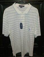 Daniel Cremieux Men's  Golf Polo  White W/Blue Stripes  New Size XL