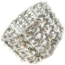 USA Bracelet SILVER rhinestone CRYSTAL cuff bridal wedding bangle wide hook NEW