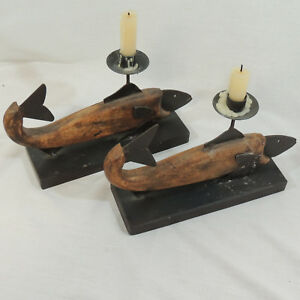 Rustic Carved Wood & Metal Fish Candle Holder Set of 2 Cabin Decor