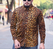 Mens Leopard Print Floral Long Sleeve Lapel Slim fit Shirts Casual Tops Plus Sz