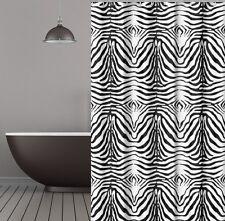 Cortina de ducha tela cebra 240x200 cm Negro Blanco incl. anillos