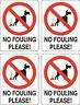No Dog Fouling sticker X 4 10cmx8cm sign warning self adhesive decal