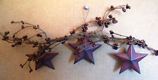 "17"" Country Primitive pip Berry Floral Twig garland SWAG METAL tin STAR Sign"