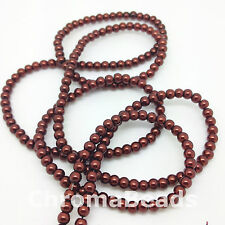 3mm Glass faux Pearls strand - Mahogany (230+ pearl beads) jewellery making