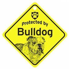 Protected by  Bulldog Dog Car Window Sign